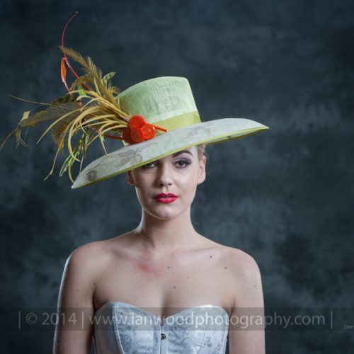 Lime and Orange Cumquat Hat, Designer Millinery from the Lake District - Tracy Wells
